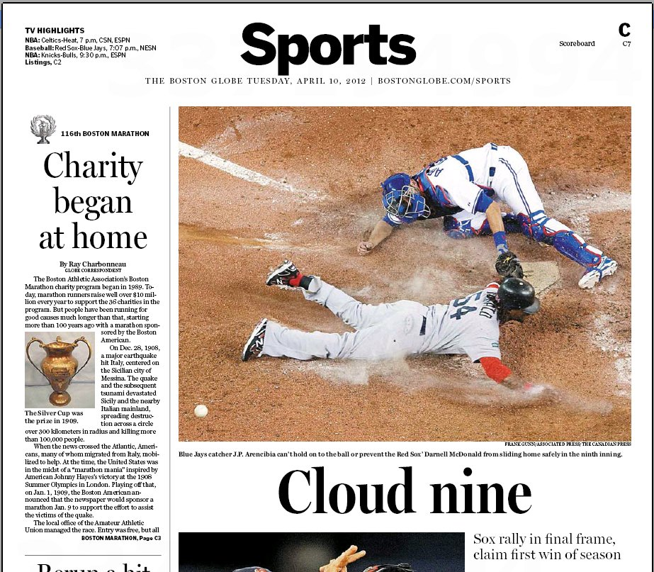 April 10, 2012 Boston Globe sports page