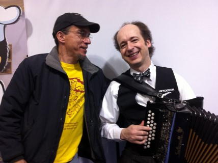 """""""Brooks"""", the accordian player, was happy to wheeze out a quick """"Freebird"""""""