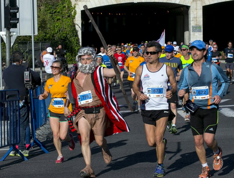 Moses splits the runners at the 2014 Jerusalem Marathon