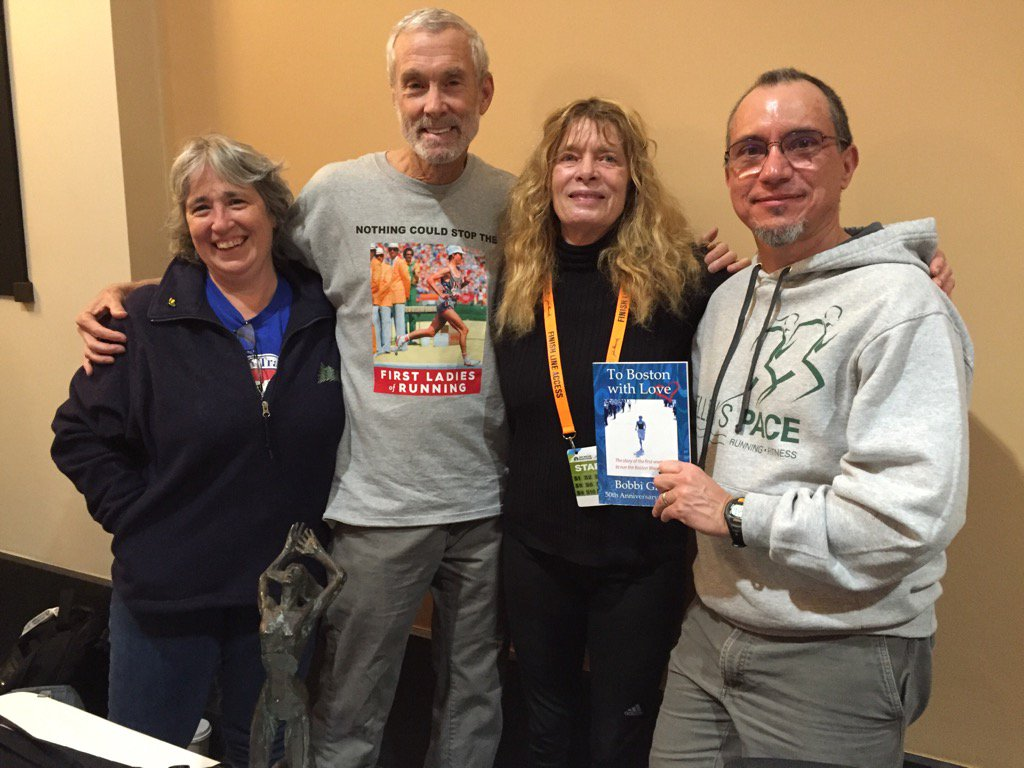 Ruth, Amby, Bobbi Gibb, and I at the 2016 Boston expo, the 50th anniversary of Bobbi's first run (the first Boston finish by a woman)