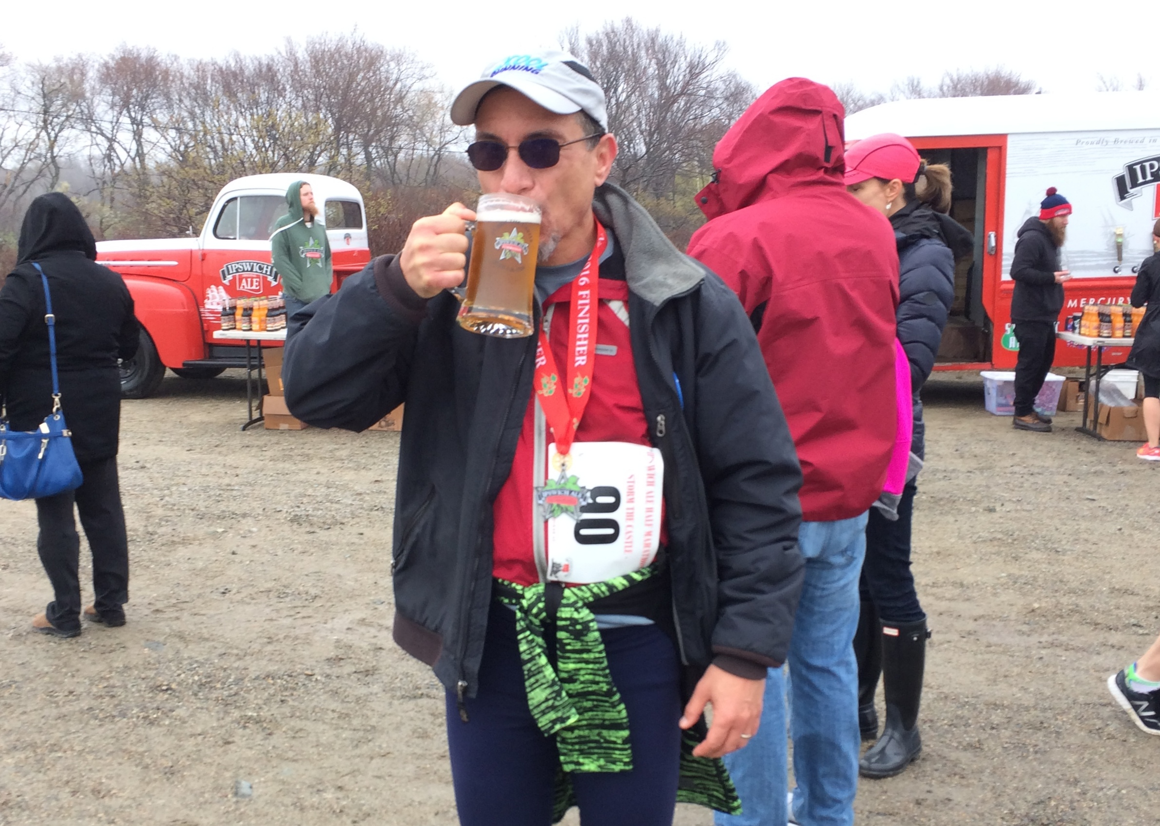 At the finish. The best races are sponsored by breweries.